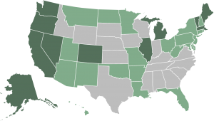 legal cannabis states map transparent background