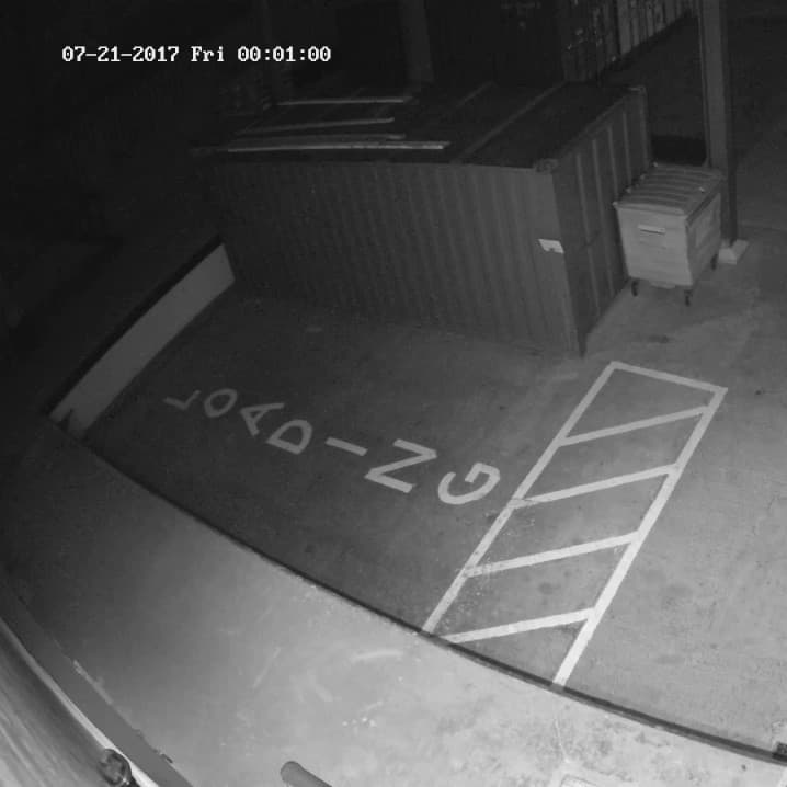 Cannabis facility loading bay security camera footage